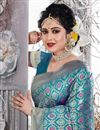 photo of Festive Wear Saree With Weaving Work In Art Silk Fabric Sky Blue Color