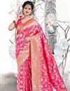 image of Weaving Work Rani Color Art Silk Fabric Function Wear Saree With Designer Blouse