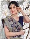 photo of Weaving Work Art Silk Fabric Wedding Wear Navy Blue Color Saree With Blouse