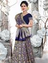 image of Weaving Work Art Silk Fabric Wedding Wear Navy Blue Color Saree With Blouse