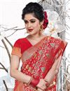 photo of Weaving Work Wedding Wear Saree In Art Silk Fabric Red Color With Attractive Blouse