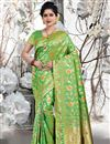 image of Art Silk Fabric Weaving Work Sangeet Wear Green Color Saree With Blouse
