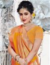 photo of Reception Wear Saree With Weaving Work In Art Silk Fabric Orange Color