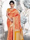 image of Orange Color Party Wear Saree In Art Silk Fabric With Weaving Work