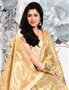 photo of Weaving Work Cream Color Art Silk Fabric Party Wear Saree With Blouse