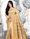 image of Weaving Work Cream Color Art Silk Fabric Party Wear Saree With Blouse