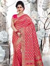 image of Designer Saree In Art Silk Fabric Rani Color With Weaving Work