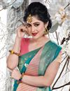photo of Weaving Work Art Silk Fabric Wedding Wear Sky Blue Color Saree With Blouse