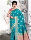 image of Weaving Work Art Silk Fabric Wedding Wear Sky Blue Color Saree With Blouse