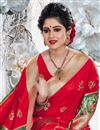 photo of Red Color Sangeet Wear Saree With Weaving Work In Art Silk Fabric
