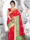 image of Art Silk Fabric Weaving Work Sangeet Wear Red Color Saree With Blouse