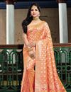 image of Salmon Color Art Silk Fabric Wedding Wear Saree With Weaving Work And Gorgeous Blouse