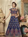 image of Navy Blue Color Art Silk Fabric Occasion Wear Lehenga Choli With Embroidery Work