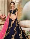 image of Embroidered Navy Blue Color Velvet Fabric Festive Wear Lehenga With Embroidery Work