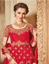 photo of Art Silk Fabric Crimson Color Designer 3 Piece Lehenga Choli With Embroidery Designs