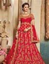 image of Art Silk Fabric Crimson Color Designer 3 Piece Lehenga Choli With Embroidery Designs