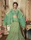 image of Eid Special Embroidery Work On Art Silk Fabric Designer Lehenga In Sea Green Color With Blouse