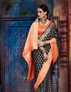 photo of Weaving Work Black Party Wear Saree In Art Silk