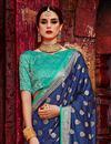 photo of Reception Wear Designer Navy Blue Art Silk Saree With Weaving Work
