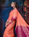 photo of Weaving Work On Salmon Designer Saree In Art Silk Fabric