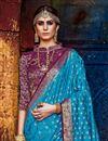 photo of Sky Blue Party Wear Designer Weaving Work Saree In Art Silk