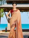 image of Salmon Embroidered Sangeet Wear Art Silk Saree With Blouse