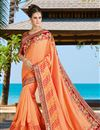 image of Salmon Art Silk Festive Wear Saree With Embroidery Work