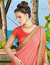 photo of Party Style Art Silk Peach Fancy Saree with Work