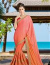image of Party Style Art Silk Peach Fancy Saree with Work