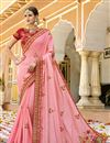 image of Pink Designer Saree With Embroidery Work On Art Silk Fabric