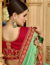 photo of Embroidered Wedding Wear Saree In Sea Green Art Silk Fabric