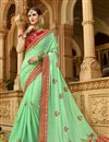 image of Embroidered Wedding Wear Saree In Sea Green Art Silk Fabric