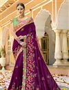 image of Eid Special Purple Art Silk Fabric Festive Wear Saree With Embroidery Work
