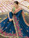 photo of Navy Blue Art Silk Fabric Designer Embroidery Work Wedding Wear Saree