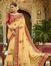 image of Embroidered Cream Wedding Wear Art Silk Fabric Saree With Blouse