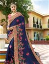 image of Eid Special Blue Embroidered Sangeet Wear Art Silk Fabric Saree With Blouse