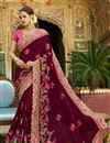 image of Designer Saree In Burgundy Art Silk Fabric With Embroidery Work