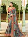 image of Embroidered Grey Wedding Wear Art Silk Fabric Saree With Blouse