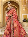 image of Art Silk Fabric Salmon Festive Wear Saree With Embroidery Work