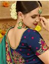 photo of Teal Embroidered Sangeet Wear Art Silk Fabric Saree With Blouse