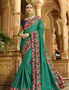 image of Teal Embroidered Sangeet Wear Art Silk Fabric Saree With Blouse