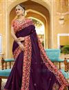 image of Reception Wear Saree With Embroidery Work In Purple Art Silk Fabric