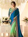 image of Art Silk Designer Embroidered Half Half Saree