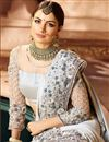 photo of Designer Wedding Function Wear Fancy Fabric Grey Color With Heavy Blouse