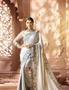 image of Designer Wedding Function Wear Fancy Fabric Grey Color With Heavy Blouse