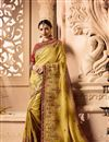 image of Wedding Wear Fancy Fabric Yellow Designer Saree With Embroidered Blouse
