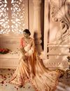 photo of Wedding Function Wear Salmon Color Embroidered Saree With Heavy Blouse
