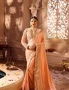 image of Sangeet Wear Embellished Saree In Peach With Heavy Blouse