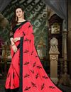 image of Georgette Crimson Embroidered Party Wear Saree