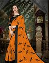 image of Fancy Party Wear Thread Work Embroidered Saree In Mustard